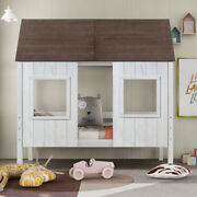 Gfd Home - Twin Size Low Loft Wood House Bed With Two Front Windows For Kids...
