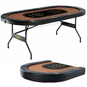 Portable Folding Felt Top Poker Table Party Casino Game Texas Hold Em 10-player