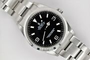 2001 Unpolished Rolex Explorer 36mm Black Dial Stainless Steel 114270 Watch