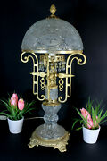 Xl Vintage German Crystal Glass Brass Table Lamp Glass Drops Rare
