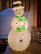 Vintage 40 Union Products Dimple Snowman Blow Mold Christmas Green Scarf