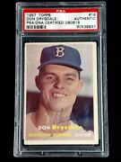 Don Drysdale Psa/dna Certified Signed 1957 Topps Rookie Card 18 Autograph Rare