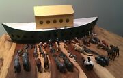 Large Scratch Built Vintage Wooden Ark With 48 Lead Animals 24 Pairs