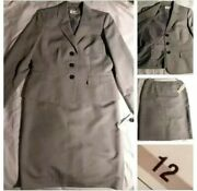 💥sale💥 Evan Picone Womenand039s Size 12 Grey Pinstripe Skirt Suit 2-piece 1 Button