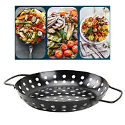 Bbq Grill Pan Veggie Basket Round Nonstick Barbecue Pizza Tray Outdoor 9.5''