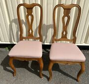 Beautiful Vintage Pair 2 Ethan Allen Country French Dining Side Chairs 26-6202