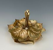 Jay Strongwater Scarlett Leaf Ring Tray Dish With Crystals Mint