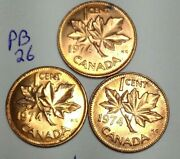 1974 Canada 1 Cent Penny  Lot Of 3  Uncirculated Pb26