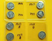 Lot Of 7 Fine Silver Mercury Dimes First Years 1916, 1917-s, 1917, 1918-d
