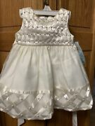 New W/tags Infant Toddler Special Occasion Dress W/ Sweater Diaper Cover Bow 12m