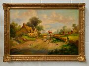 Large Equestrian Framed Oil Painting Horse Back Riders - Henry T. Harvey