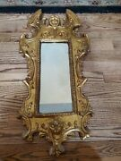 Antique Venetian Gilded Rococo Style Mirror With Cherub Putti Made In Italy