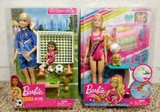 Barbie Swim 'n Dive Doll With Puppy And Barbie Soccer Coach Set - New