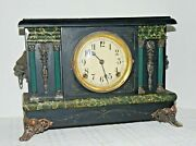 Vintage Antique Sessions Mantle Clock With Columns And Lions Heads
