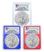 Set Of 3 2021 Pcgs Ms 70 Type-2 Silver Eagle In Red White And Blue Core