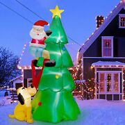 7 Ft Inflatable Lighted Christmas Tree W/cute Santa Claus And Dog Outdoor Decor