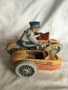 Vintage 1950and039s Tin Litho Friction Reprodection Harley-davidson Side Car Tin Toy