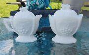 Vintage Westmoreland Milk Glass Cherries And Grapes Sugar Bowl Creamer With Lids