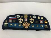 Rare Soviet Union Russian Military Hat And Pins. Tank Patch Cap.