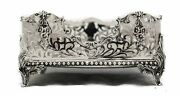 925 Sterling Silver Handcrafted Glossy Swirl Pierced Flat Square Napkin Holder