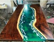 Epoxy Resin River Table Natural Wood Dining Table Natural Epoxy Table Decor