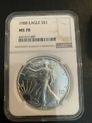 1988 American Silver Eagle - Ngc Ms70 Brown Label