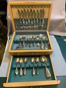 Lunts Sterling Silver Flatware Set Mt. Vernon Pattern With Nice Wood Case.