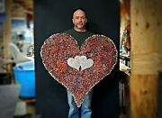 Metal Wall Art Copper Heart 46 1651 Steampunk Christmas Wedding Valentineand039s