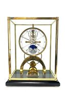 Fabulous 24k Astro Porcelain Dial 8 Day Fusee Chain Skeleton Clock W Moon Dial