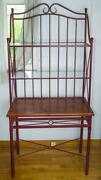 Antique Wrought Iron Wood And Glass Bakers Rack / Garden-plant Display Rack 76