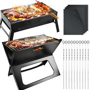 Large Bbq Barbecue Grill Folding Portable Charcoal Stove Camping Garden Outdoor