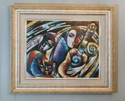 Rare Signed M. Santos Oil On Canvas Abstract Colorful Musical People Painting