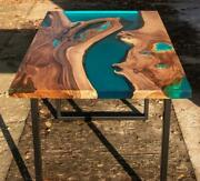 Epoxy Resin Dining Table Top Live Edge Acacia Wood River Table Dine Furniture A4