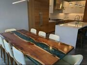 Epoxy Resin Dining Table Top Live Edge Acacia Wood River Table Dine Furniture A6
