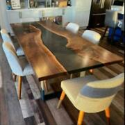 Epoxy Resin Dining Table Top Live Edge Acacia Wood River Table Dine Furniture A7