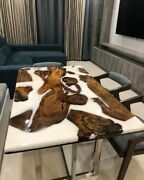 Epoxy Resin Dining Table Top Live Edge Acacia Wood River Table Dine Furniture A9