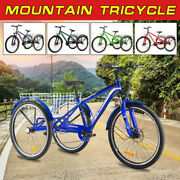7 Speed 3 Wheeled Mountain Tricycle 24/26/27.5 Adults Mtb Cruiser Cargo Basket