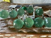 Round Faceted Glass Knobs Antique Vintage Coke Green Door Cabinet Drawer Pulls
