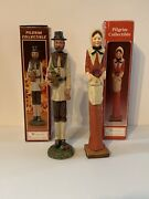 2 Vintage Large Windsor Pilgrim Figurines Collectible Clay Pottery Thanksgiving