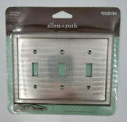 Allen + Roth Triple Toggle Wall Light Switch Cover- Satin Nickel Finish, 0326194