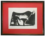 Pablo Picasso Spain 1881-1973 'the Black Bull,' 1947 B/w Litho Plate Sgnd/frmd