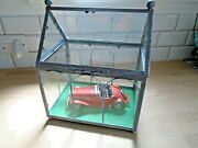 Tin Toy Wind Up Car 1950 S Mg Convertible In Glass Display Case