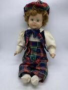 Collectible Little Boy 15 Porcelain Doll With Tartan Outfit And Matching Hat