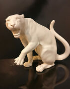 9942914-ds Porcelain Figurine Tiger Panther White Bisque Wagnerandapel 9 13/16x5