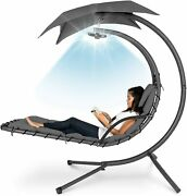 Hanging Curve Chaise Lounge Chair Pillow Canopy Led Light Hammock Deck Patio Sun