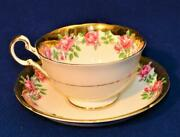 Vintage Royal Grafton China England Heavy Gold Pink Roses Set Cup And Saucer 6782