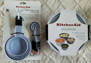 Kitchenaid Lot Of 2 Items Lavender Measuring Cups/spoons And Set Of 4 Bowls/lids