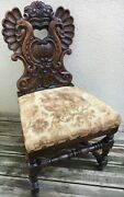 Large Antique French Black Forest Alsacian Chair 19th Century Woodwork Peacocks
