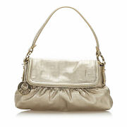Pre-loved Fendi Silver Calf Leather Zucca Chef Shoulder Bag Italy
