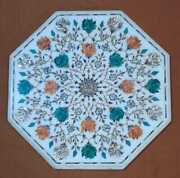 30 White Marble Table Top Inlay Pietra Dura Antique Handmade Home Decor Br